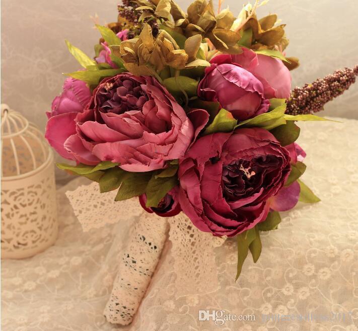 Bouquets de Casamento Bouquets de mariée artificiels Bouquet de mariée Bouquet de mariée avec des fleurs Vintage dentelle Buque de Noiva