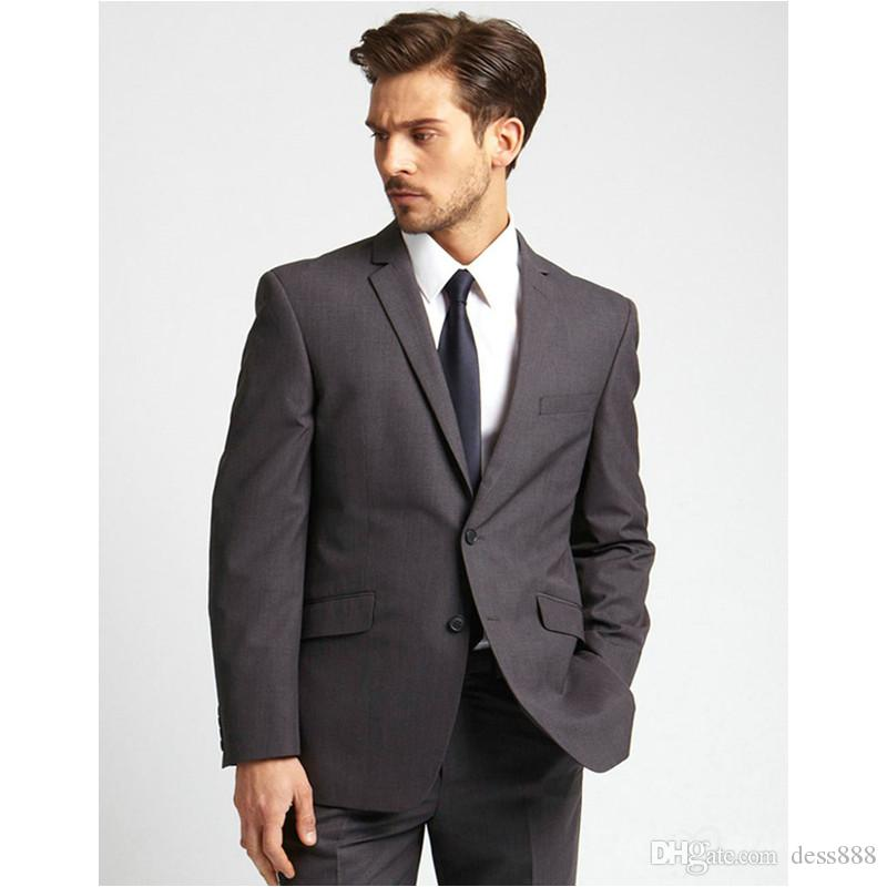 Bespoke Hot Sale Handsome Classic Two Buttons Notch Lapel Men Suits Gray Wedding Dress Maillot Homme jacket+Pants+tie