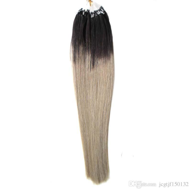 100g brazilian virgin Straight micro bead hair extensions T1B/Gray Ombre human hair sticks 100s micro link human hair extensions