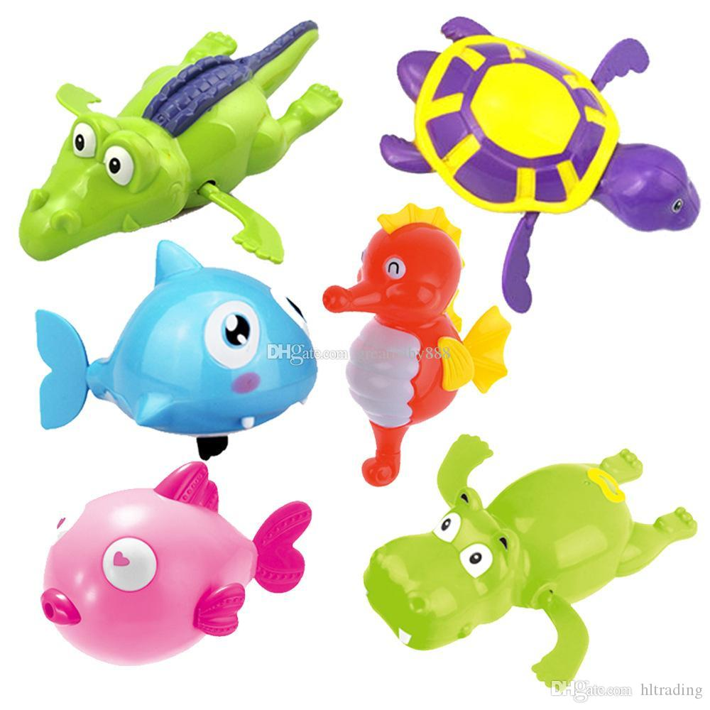 2018 Baby Bath Toy Kids Wind Up Toys Cartoon Turtle Hippo Fish Shark ...