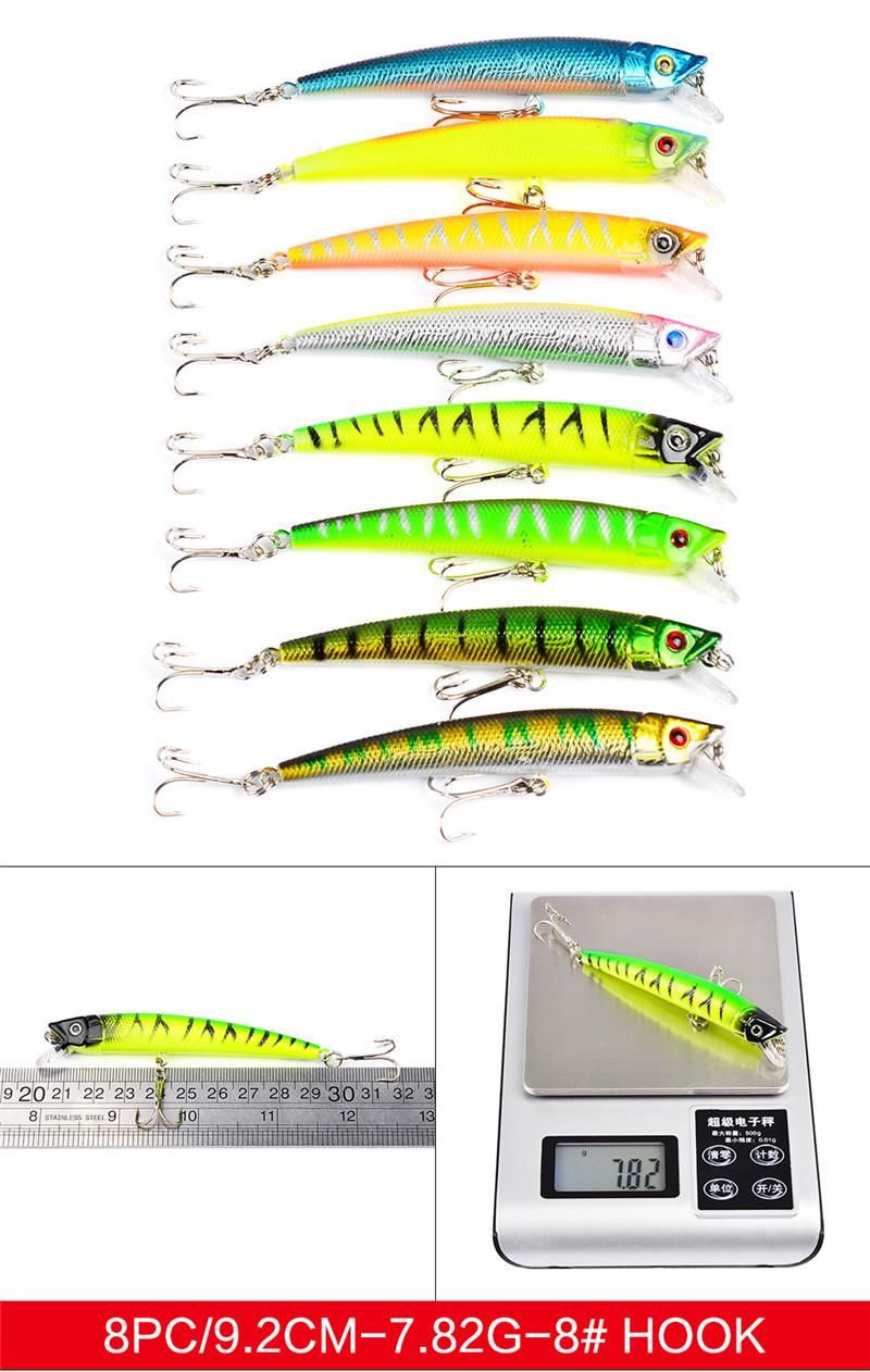 ABS Plastic High Quanlity Fishing Lures Set Mixed 8 styles Minnow Lure Crank Bait Pencil and Rattlin Baits