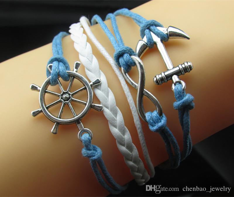 Mixed Styles Infinity Charm Bracelets Antique Cross Bracelets Wax Cord Wrap Braided Leather Bracelets Multilayer Heart Tree of Life Jewelry