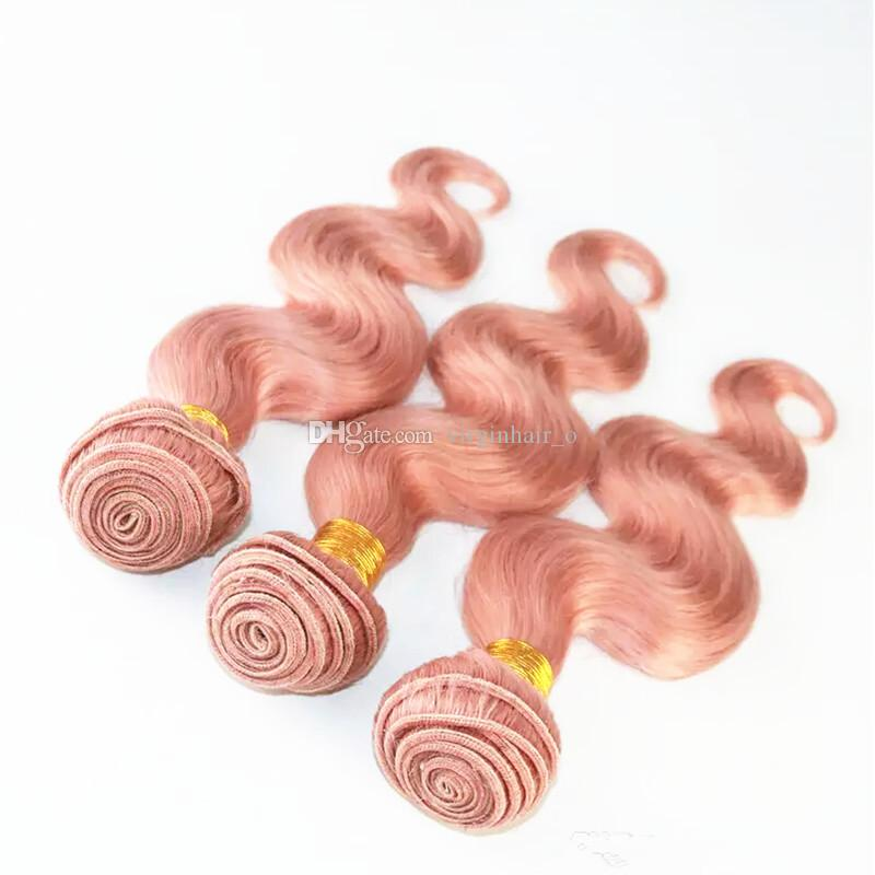 Rose Gold Brazilian Virgin Hair 3 Bundles With Full Lace Frontal Unprocessed 100% Human Hair Bundles With 13x4 Closure Color Pink# Body Wave