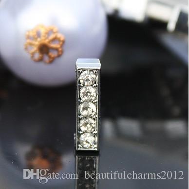 Al por mayor - / 10 mm I Full Rhinestones Bling Slide letras encajan para 10 mm diy collar de cuero del animal doméstico pulsera 0030