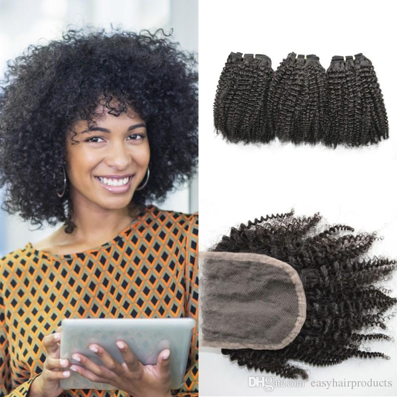 3 bundles with closure free part brazilian afro kinky curly human hair extensions lace closure with baby hair G-EASY