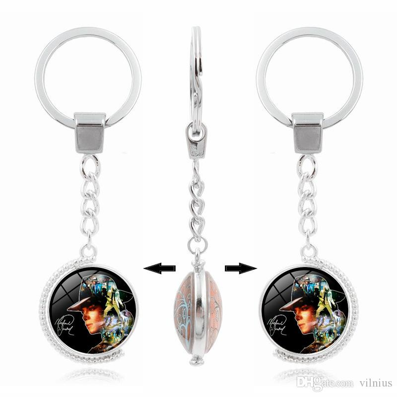 Hot!3pcs 8Style Silver Plated Keychain Jewelry with Michael Jackson Pattern Rotate Glass Cabochon Key Chain Ring for Unisex Gift