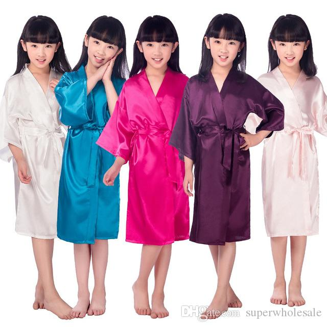 94a31873f Kids' Satin Kimono Robe Bathrobe Nightgown for Spa Party Wedding Birthday  Children's Silk Stain Pure Kimono Wedding Dressing
