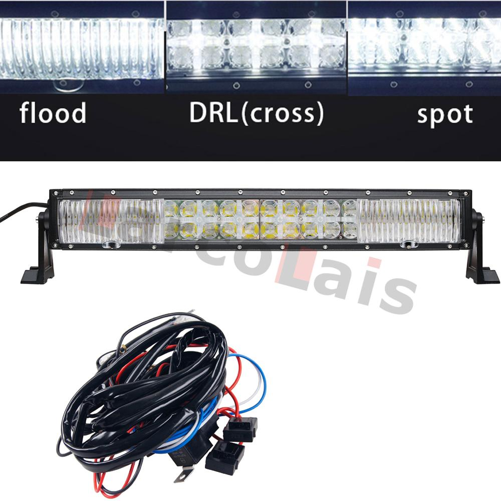 22 Inch Combo Beam 7d Curved 200w With Drl Led Work Light Bar Wiring Boat Kit For Off Road Trailer Tractor 4wd 4x4 Truck Suv Atv The Vehicle
