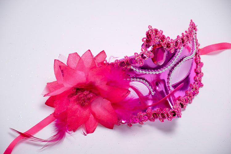Bead Chain Big Rose Flower Mask Party Ball Masquerade Masks Italian Princess of Venice Mask Woman Lady Wedding Decoration