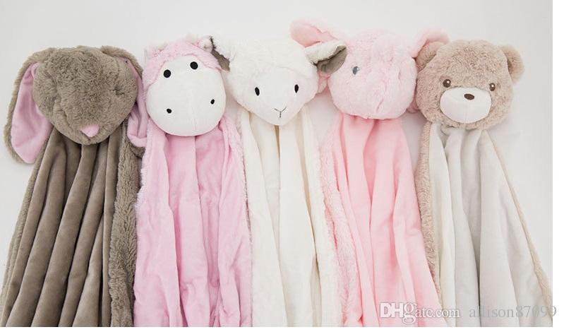 Baby blanket Swaddles Swaddling Velvet Animal toy warm Fall winter Elephant 2016 Ins Wraps Blankets Comfort Bedding Newborn Quality 76*76cm