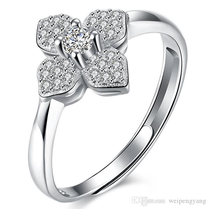 Lucky Clover Ring New 925 SterlingSilverJewelry Charm Silver Rings