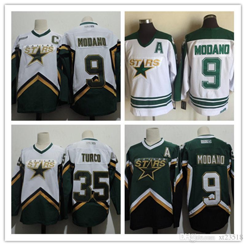 2019 Mens Stitched 1999 Dallas Stars MIKE MODANO Hockey Jerseys White 2005   35 MARTY TURCO Dallas Stars Jersey S 3XL From Xt23518 ee37aa208
