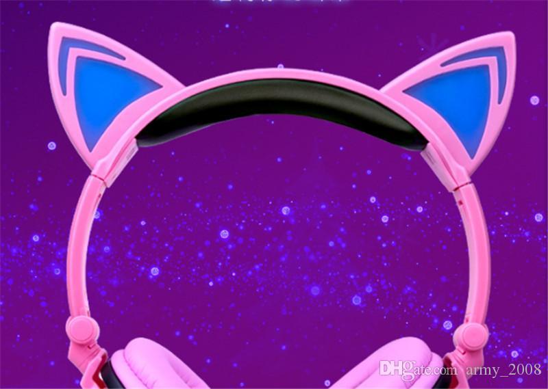 Новейший игровой гарнитура наушники со светодиодной подсветкой складной мигающий светящийся милый кот наушники для ПК портативный компьютер мобильный телефон