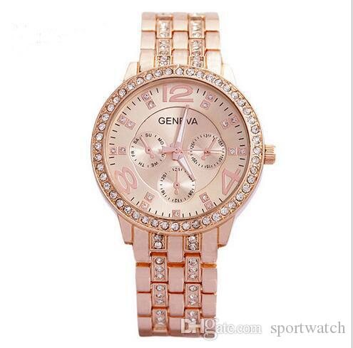 Women Geneva Faux Pearl Flower Chain Bracelet Wrist Analog Quartz Dial Watch 1PC Ladys Rose Gold With Diamonds Steel Band Quartz Watch
