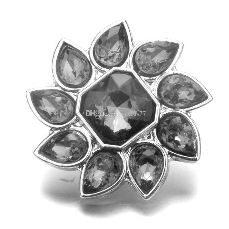 Noosa Waterdrop Flower Crystal Ginger Snap Jewelry 18mm Snap Buttons for DIY MAKING Snap Bracelet Button Jewelry
