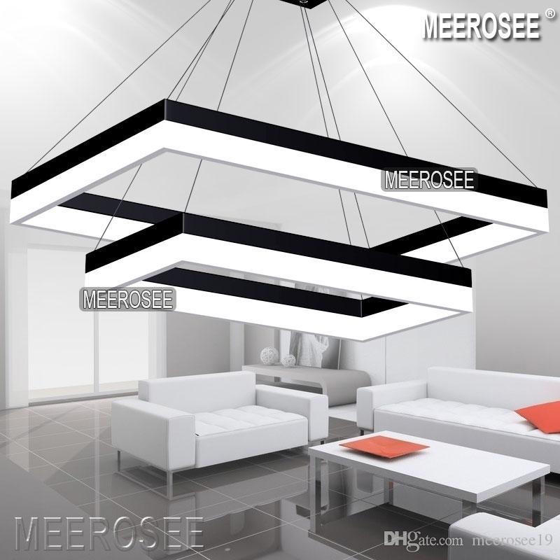 Modern led pendant light modern rectangle black hanging pendant suspension light fixture dining room living room lamp led light design hanging lights for