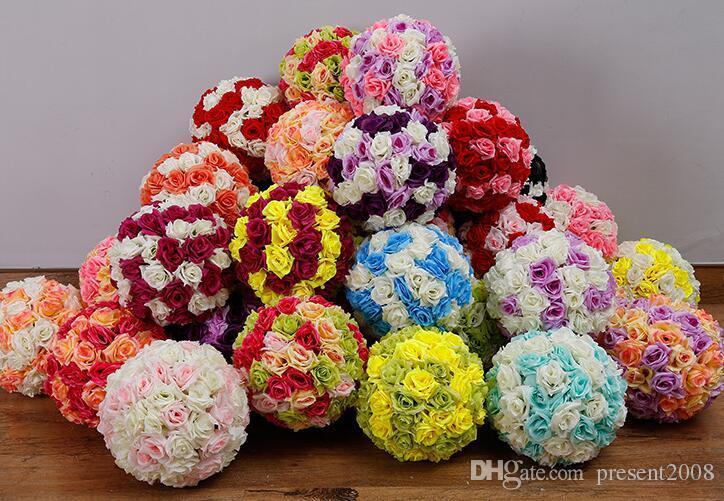 Ücretsiz kargo 12 inç düğün ipek Pomander öpüşme topu çiçek topu süslemeleri çiçek yapay çiçek düğün bahçe pazarı için dekorasyon