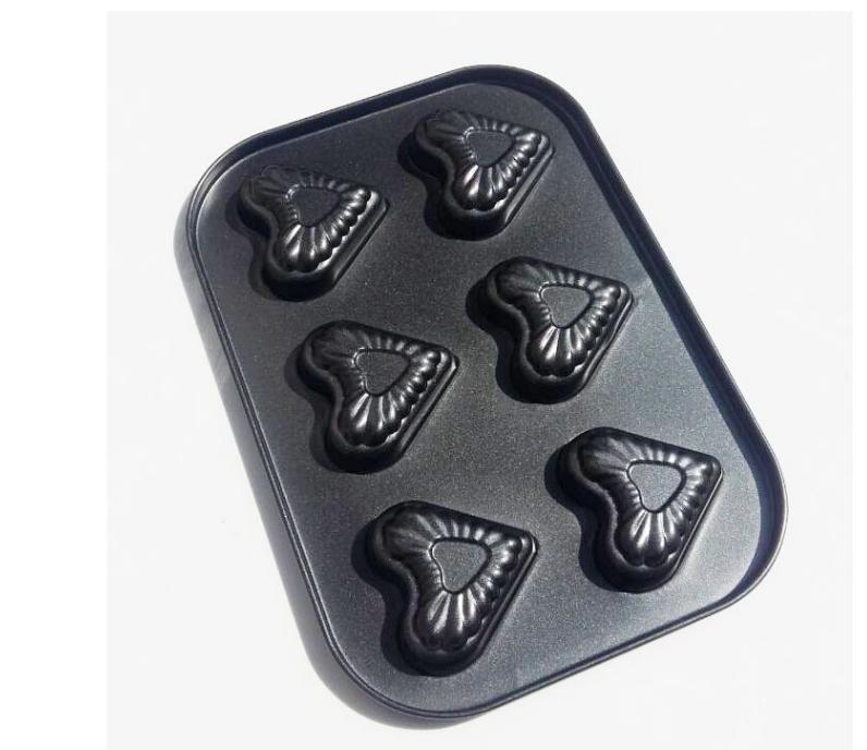 Cavidad de forma de corazón Cake Pan 6 revestimiento antiadherente perfecto, FDA, estándar LFGB
