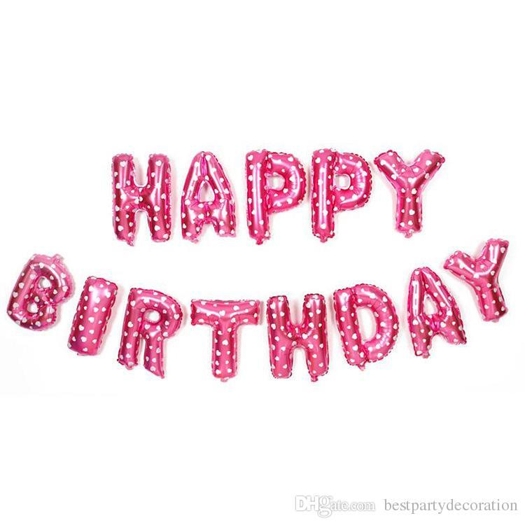 16 pouces joyeux anniversaire fête ballons lettre ballon mélangé couleurs or argent alphabet hélium feuille d'aluminium ballon