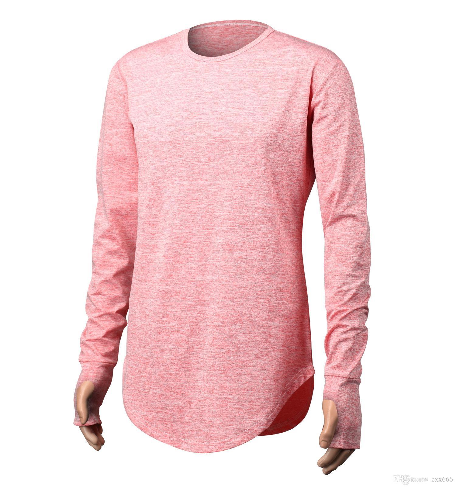 Acquista 2017 Estendere La Strada Hip Hop T Shirt All ingrosso Marchio Di  Moda In Cotone T Shirt Da Uomo Estate Manica Lunga Disegno Oversize Tenere  La Mano ... 11193cac07a