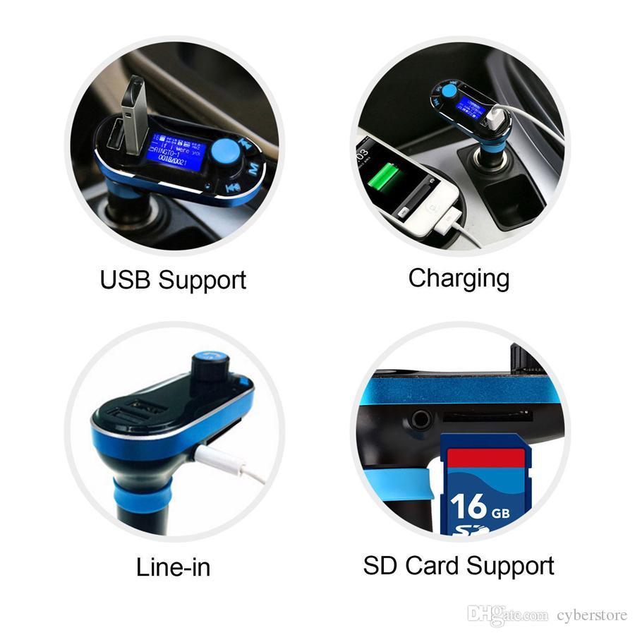 Dual USB cargador de coche FM BT66 transmisor Bluetooth manos libres de teléfono LCD MP3 Player Radio kit adaptador de cargador de móvil elegante