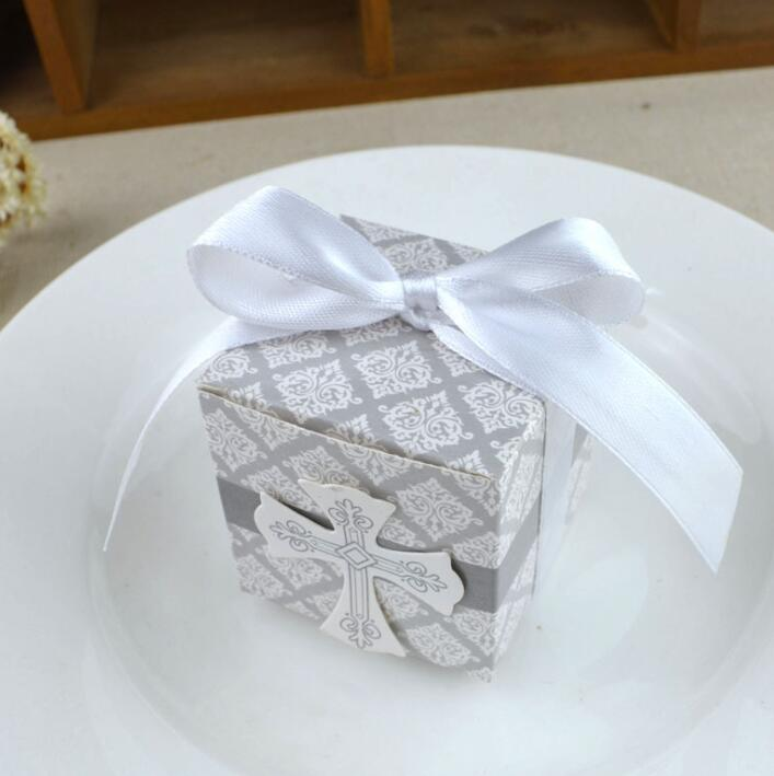 Cross Wedding Favor Box Christmas Birthday Party Gift Boxes Candy Boxes Wedding Supplies Gifts box With Ribbon