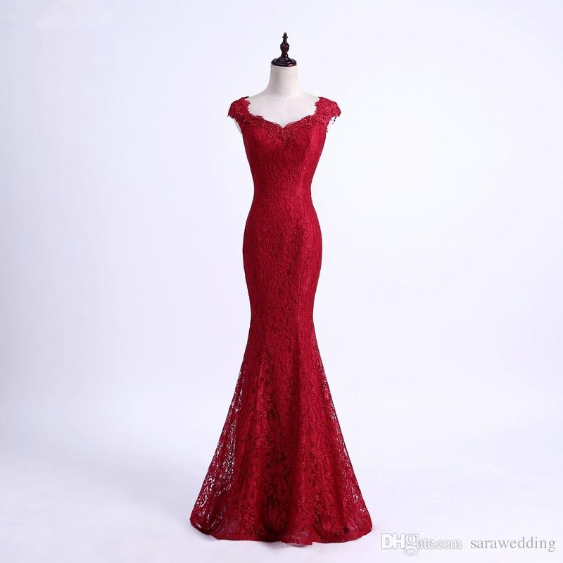 Lace Mermaid Evening Dress 2018 Slim Burgundy Red Evening Gowns Long ...