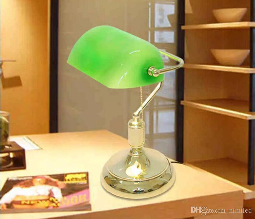 Vintage Bank Lampes De Table Rétro Laiton Banquiers Lampe Verre Vert Abat-Jour Bureau Bureau Salle Lampe De Table Lampes Lampe