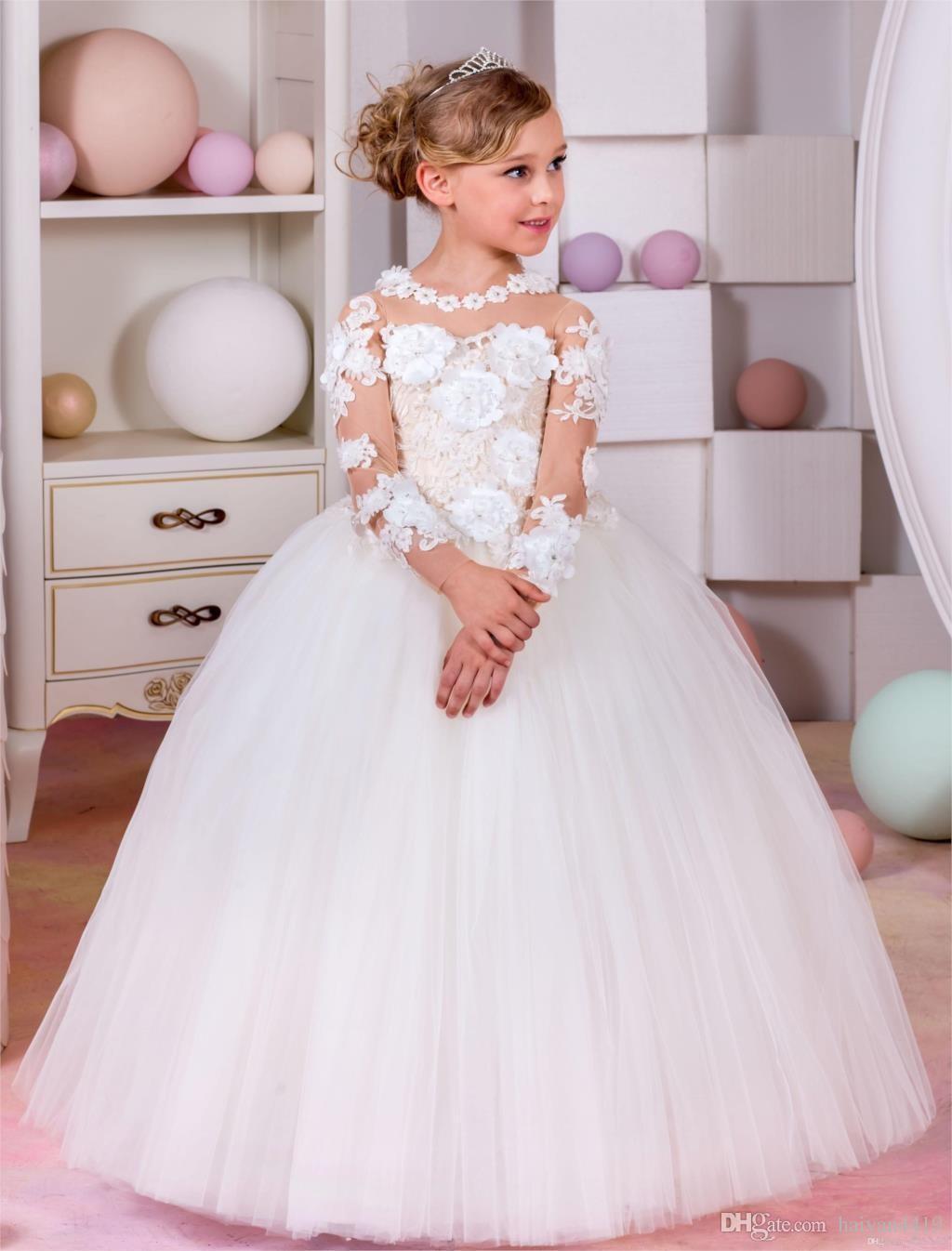 2017 nuove ragazze di fiori abiti maniche lunghe gioiello collo illusione di pizzo appliques fiori 3d lunghi compleanno comunione bambini ragazza abiti da spettacolo