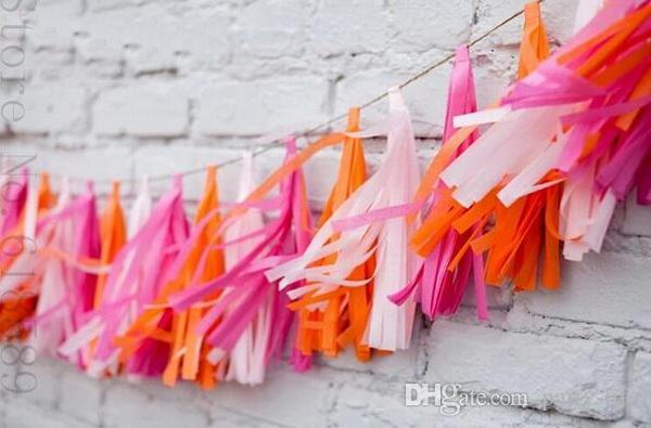 100 packs / 12,5 * 25 cm Seidenpapier Quaste Garland Diy Hochzeit Dekoration Papier Blume Dekorationen Geburtstage Party Dekoration