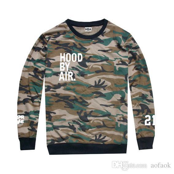 New 2017 Men's Hood By Air Long Sleeve Tee Shirts Man HBA Hip Hohirts Beenp t-s Trill Printed tshirts Men camouflage Clothing
