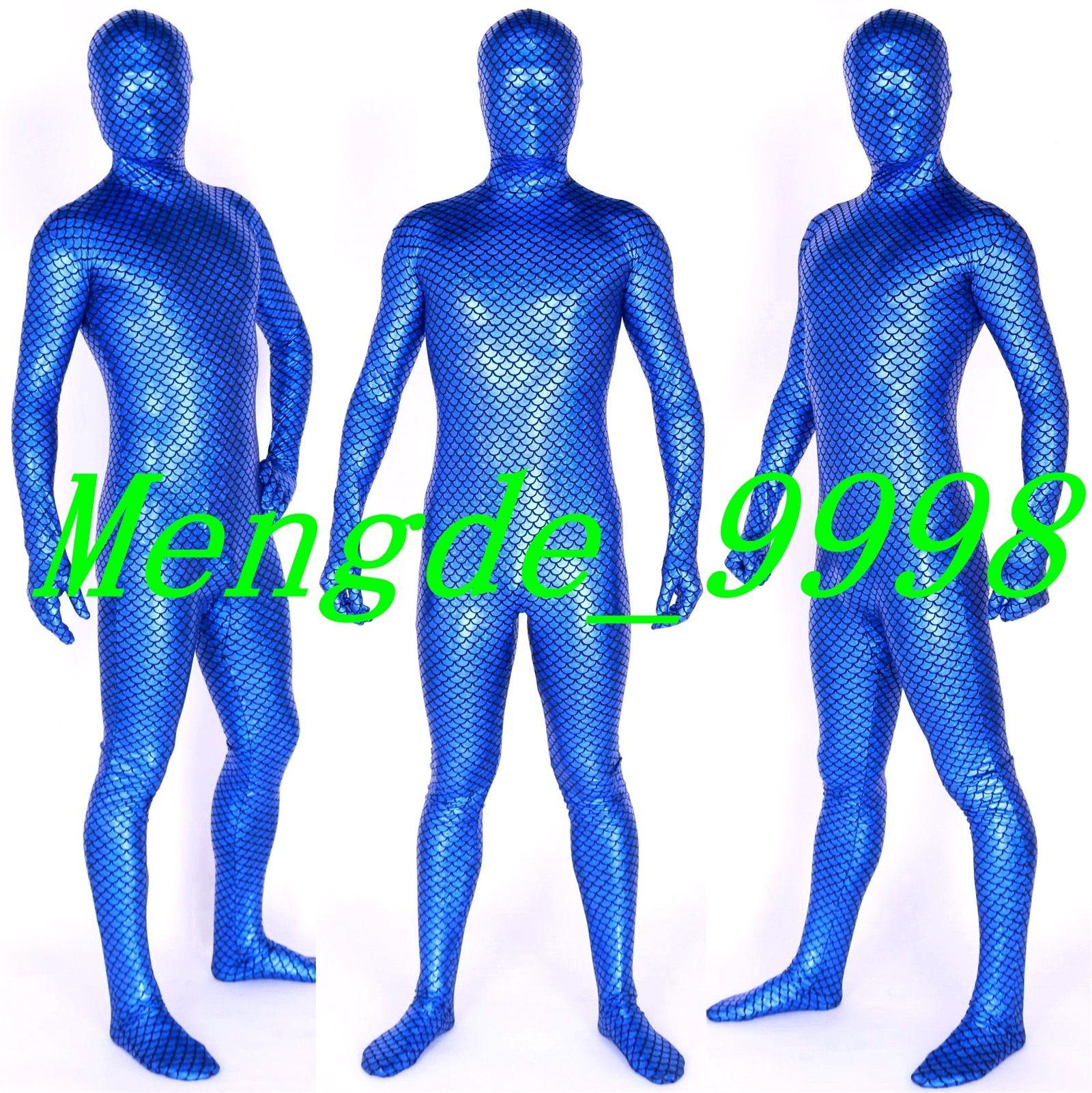 2018 Blue Shiny Lycra Metallic Fish Scales Mermaid Suit Costumes ...