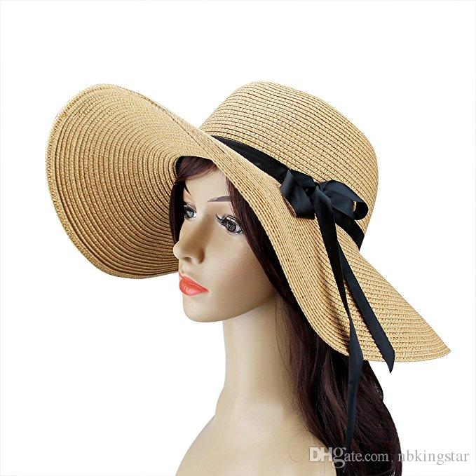 755ad6d88a388 Women s Sun Hat Foldable Large Wide Brim Straw Hat with Bow Summer ...