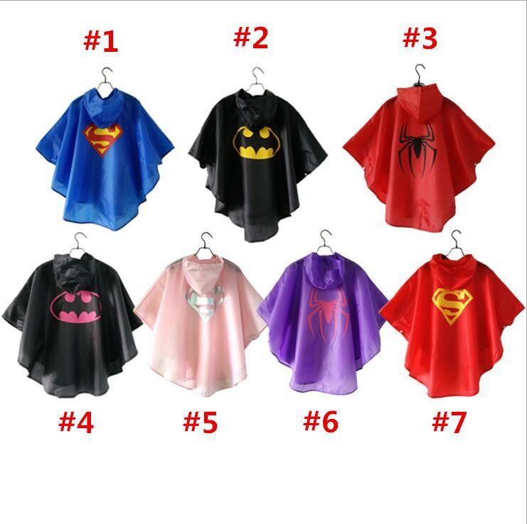 superman batman spiderman superhero kids waterproof Rain Coat Raincoat Rainwear
