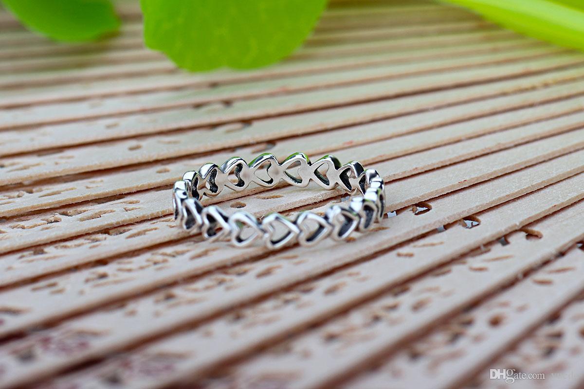 Um atacado simples anéis de amor 925 prata assinatura anel Fit Pandora Cubic Zirconia jóias de aniversário para mulheres presente de natal