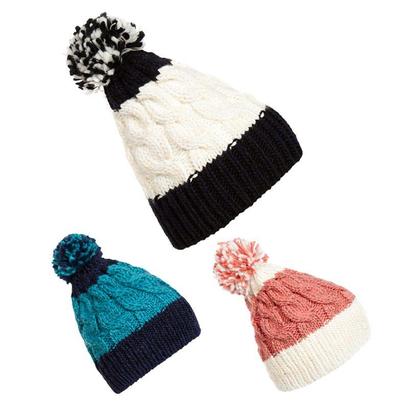 2015 New Winter Warm Giant Bobble Hat Fashion Chunky Ski Slouch Cable Knit  Cap Blue Pink And White DM 6 Hoodies Beanies From Nonion 2d9f4471b