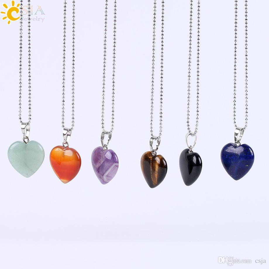 CSJA 2017 New Women Summer Jewelry Pendant Necklace Lovely Heart 8 Natural Gemstone Amethyst Rose Quartz Clear Crystal Black Agate E594 B
