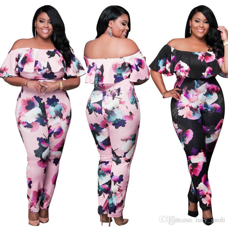 ab0aaa04b1a 2017 Women Bodysuit Women Rompers Sexy 3D Flores Print Off Shoulder Ruffles Bodycon  Jumpsuit Plus Size Women Bodysuits Casual Overalls XXXL Women Bodysuit ...
