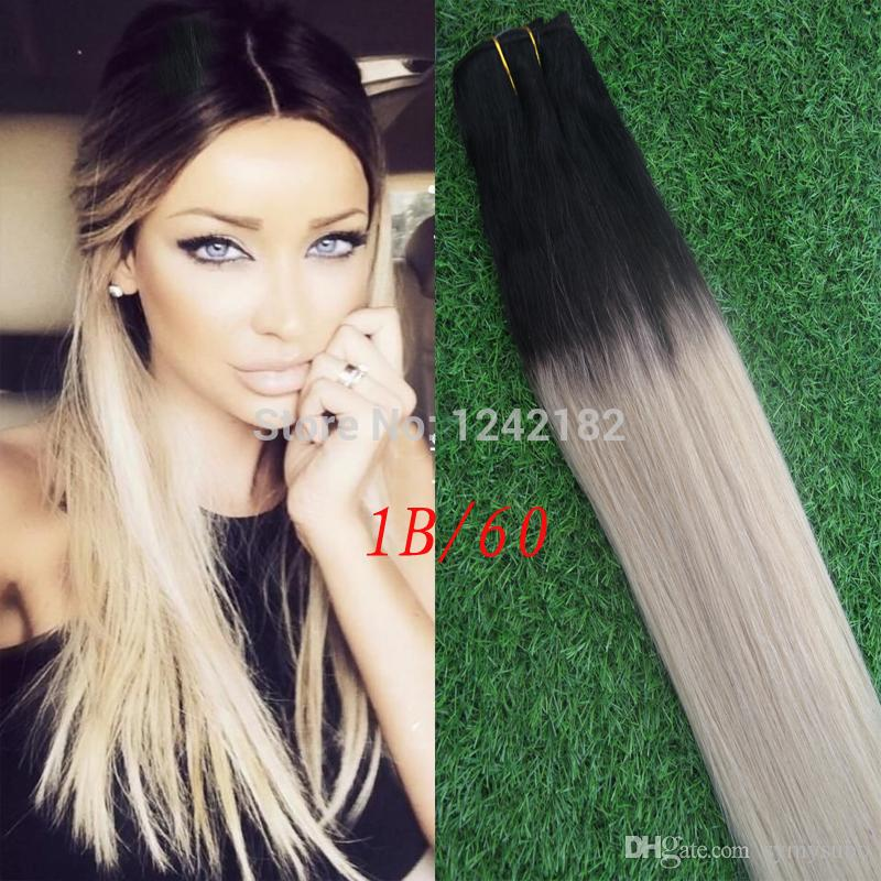 New Item Brazilian Ombre Hair 1bplatinum Blonde Human Hair