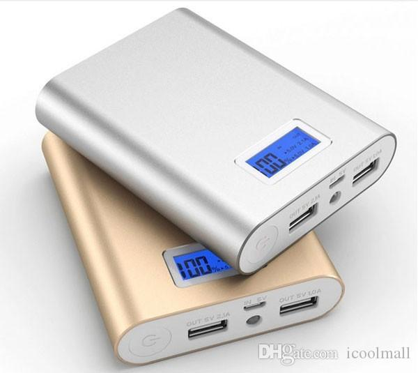 Universal External Battery 18650 power bank 10400mah LCD Powerbank Dual USB Portable Charger For iPhone Mi Mobile Backup Power