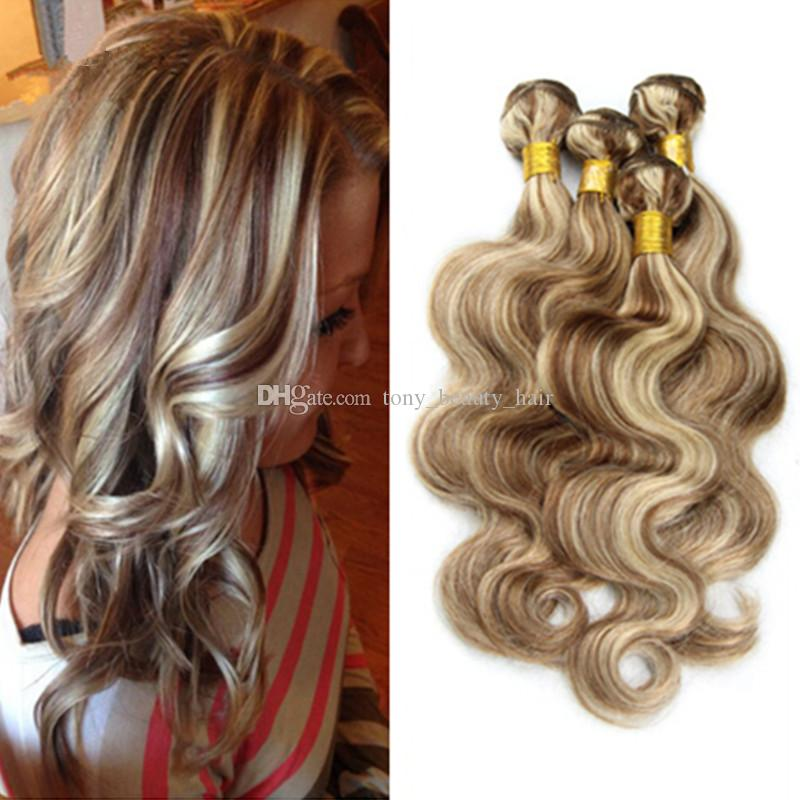 Piano Color 8 Light Brown With 613 Blonde Hair Weave 3 Bundles