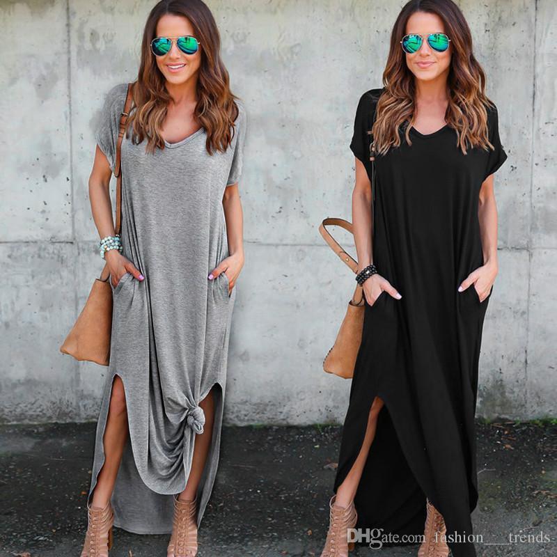 Großhandel Womens Loose Maxikleid Sommer Casual Shift Kleider Strand Kurzen  Ärmeln Solide V Ausschnitt Damen Langes Kleid Vestidos Mujer 2017 Schwarz  Grau ... da4465d3d9