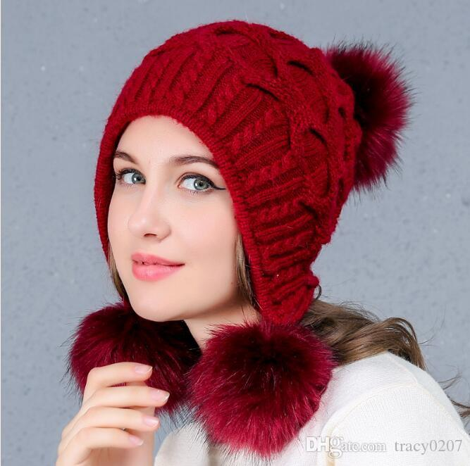 160e0ef18d57f 2017 Women s Winter Knitted Hat Beanie for Girl Top Ball Hanging Ball Earflap  Hats Casual Fashion warm solid color Female Cap