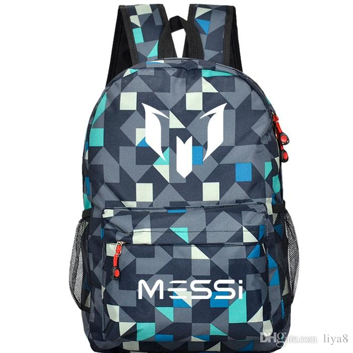 2018 hot sale Messi Logo Teenagers School Book Backpack Soccer Bag Football Shoulder Bags Sports Travel Bag Gift For Kids Mochila Escolar