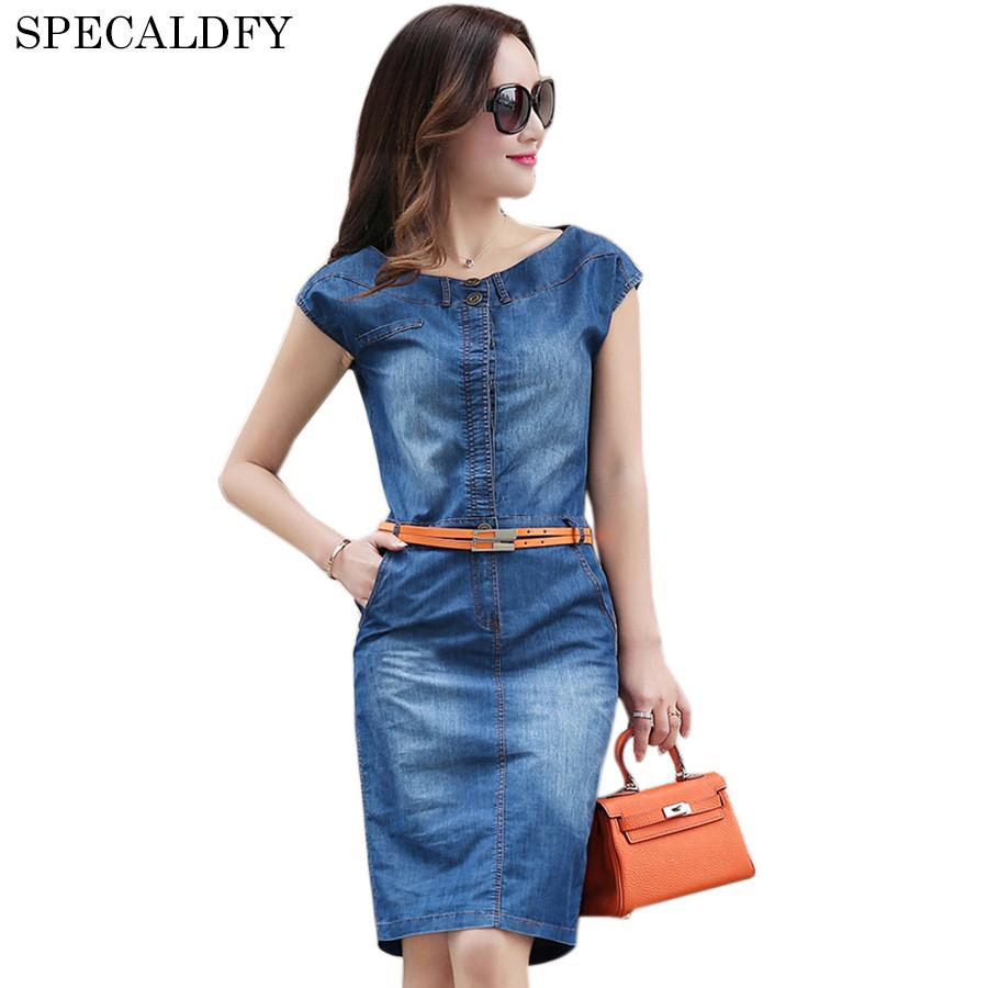 ddff7849f0b73a Acquista Estate Denim Dress Donna Senza Maniche Vintage Casual Vestido Jeans  Abiti Sundress Cintura Button Plus Size Abito Femme Ete 2017 A $80.72 Dal  ...