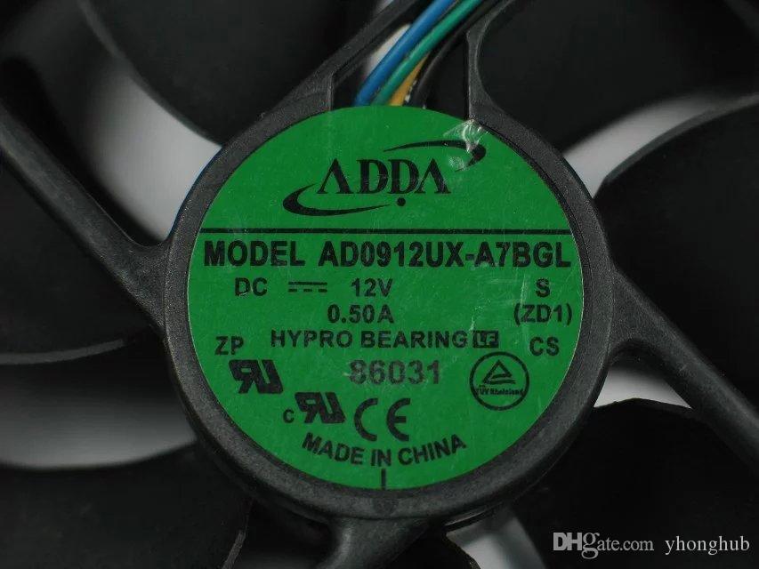 ADDA AD0912UX-A7BGL ZD1 DC 12V 0.50A 4 선 4 핀 커넥터 90mm, 90x90x25mm 서버 스퀘어 팬