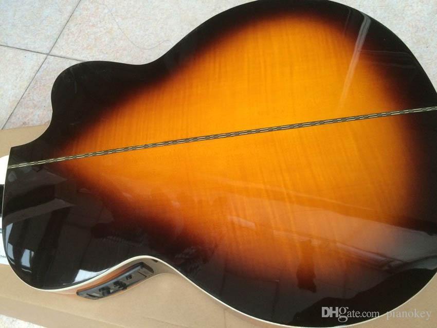OEM solak 43 inç Jumbo Sunburst renk akustik elektro gitar, katı ladin üst, çin yapılan J200 tarzı gitar