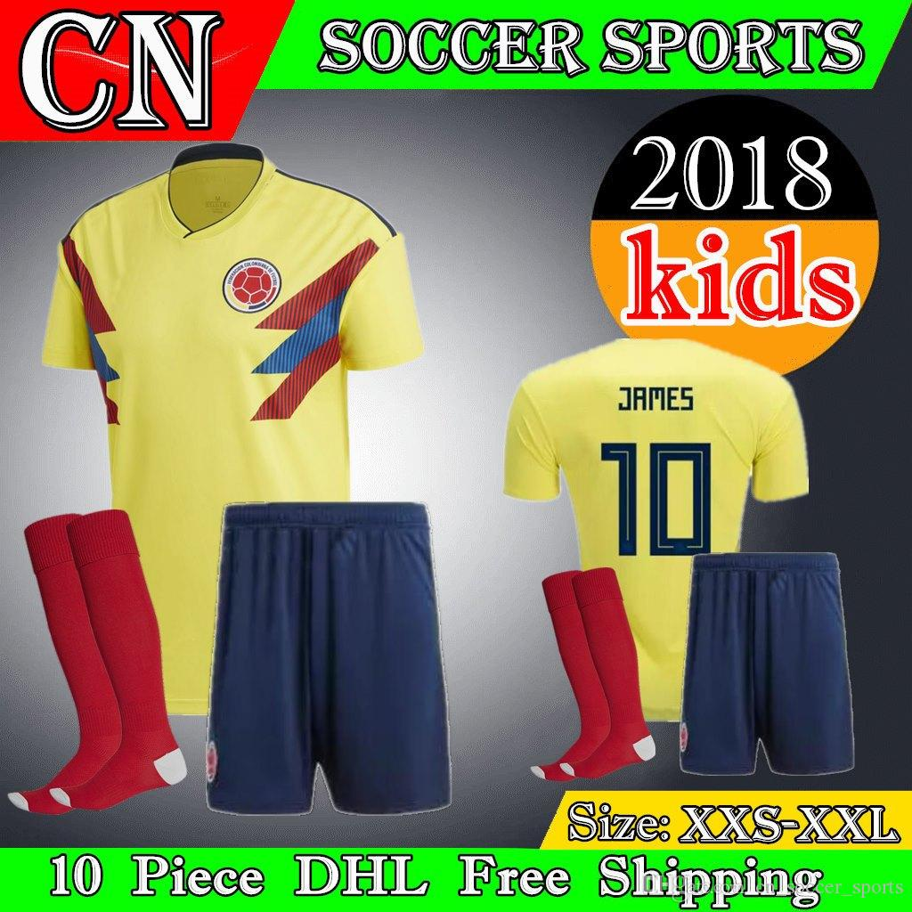 1261bd3ee19 Colombia Kids Kit 2018 Colombia Soccer Jerseys Home FALCAO JAMES ...