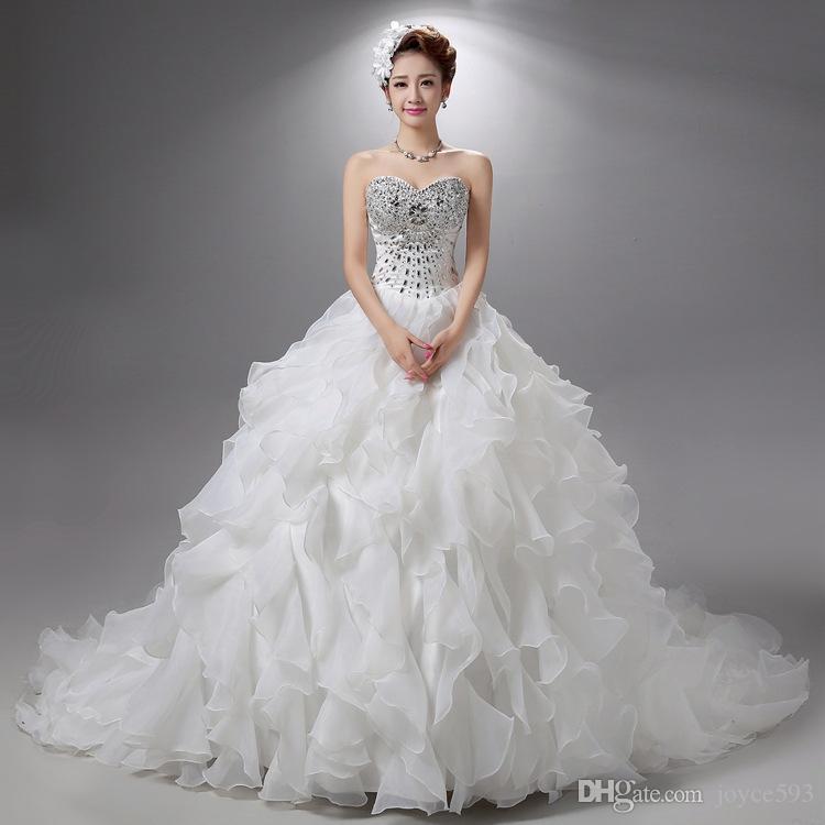 Robe De Mariage 2017 Princess Bling Bridal Gown Luxury Crystals White Wedding Dress Gown 2017 Bridal Wedding Gown Vestido De Noiva