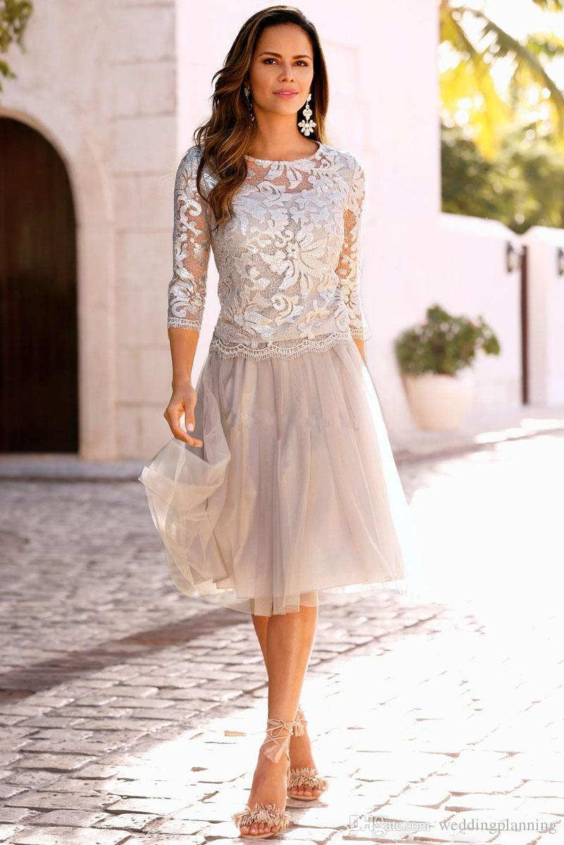 2017 Luxury Short Mother Of The Bride Dresses Lace Tulle Knee Length 3/4 Long Sleeves Mother Bride Dresses Short Prom Dresses